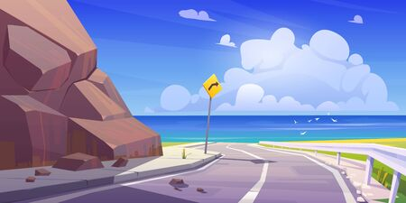 Mountain asphalt road with seaview, curly empty highway in rocky summer time countryside landscape with turn sign. Speedway travel scenic background with blue cloudy sky. Cartoon vector illustration Vectores
