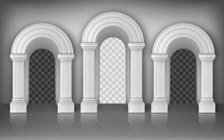 Arches with columns in wall realistic vector, interior gates with white pillars in palace or castle corridor, archway frames, portal entrance, antique doorway with shadow inside, 3d illustration