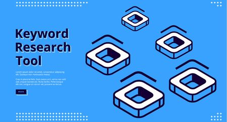 Keyword research tool isometric landing page with square shape abstract icons with rounded corners and cavity in center. Seo optimization, analysis servic,e 3d vector illustration, line art web banner