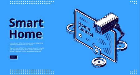 Smart home, internet of things isometric web banner. Computer display with interface and camera, smart house equipment and services for home control, vector illustration, line art landing page