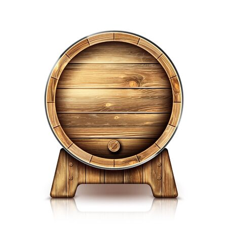 Wooden barrel for wine or beer. Cask from oak wood on stand for brewery or winery. Vector realistic keg for whiskey, rum or cognac isolated on white background in front view