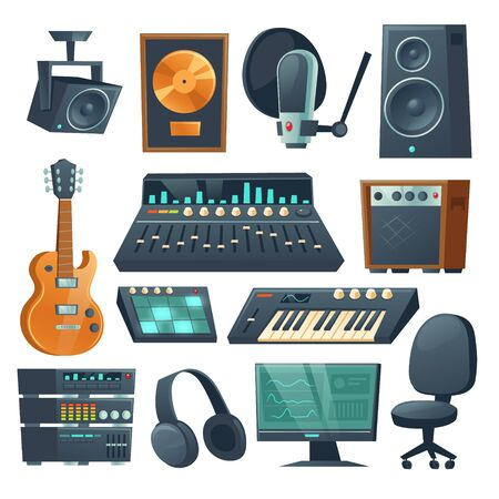 Music studio equipment isolated on white background. Vector cartoon set of sound recording tools, guitar and synthesizer, audio mixer, amplifier and microphone. Professional music workstation