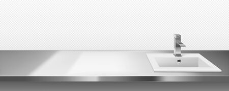 Ceramics sink with metal faucet for kitchen or bathroom on steel countertop surface front or top view isolated on transparent background. Interior frame with stainless desk, Realistic 3d vector border Ilustración de vector