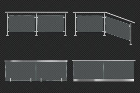 Glass balustrade with iron banister front and angle view. Vector realistic mockup of different sections of clear acrylic fence with metal railing isolated on transparent background