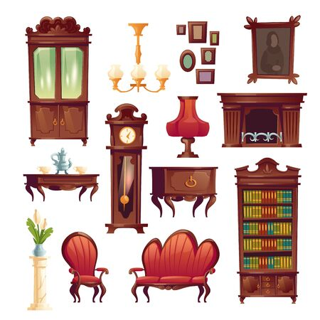 Victorian interior living room stuff, luxury royal tea service, fireplace, armchair and couch, grandfather clock, table lamp and chandelier, cupboard, picture and table, Cartoon vector illustration