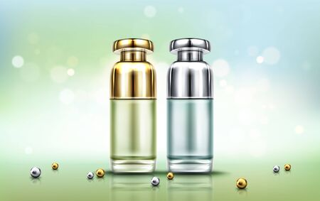 Cosmetics bottles, beauty skin care cosmetic or perfume blank tubes with gold and silver caps, product ad presentation on abstract blurred background with scattered pearls, Realistic 3d vector mock up  イラスト・ベクター素材