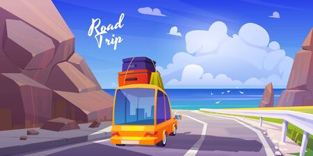 Road trip by car at summer vacation, holidays travel on automobile with bags on roof going at highway in mountains with seaview. Family leisure on ocean, nature journey, cartoon vector illustration