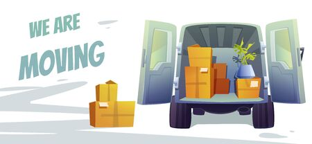 Furniture delivery banner with open truck and packing boxes inside. House moving concept. Vector cartoon illustration for relocation service with freight van for carry estate and cargo