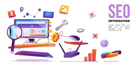 SEO optimization banner. Technology for internet marketing and digital business content. Computer desktop with wrench, magnifier, cogwheel and media icons around, Cartoon vector illustration, poster