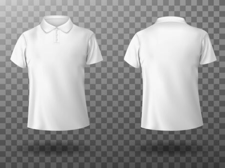 Men white polo shirt front and back view. Vector realistic mockup of male blank t-shirt with collar and short sleeves, sport or casual apparel isolated on transparent background Ilustración de vector