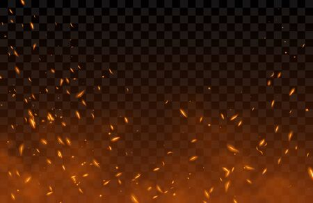 Smoke, sparks and fire particles, flying up embers and burning cinder. Vector realistic heat effect of flame in bonfire, from blacksmith works or hell isolated on transparent background