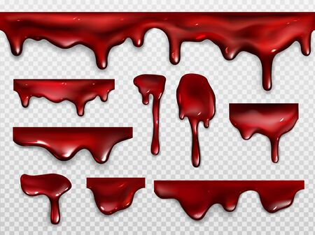 Dripping blood, red paint or ketchup. Scary decoration for Halloween or horror design. Vector realistic set of shiny drops and flow liquid gore, syrup dribble isolated on transparent background