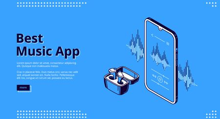 Best music app isometric landing page. Wireless headset front of smartphone with equalizer and soundtrack with audio player application and control buttons on screen 3d vector line art web banner