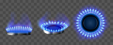 Gas burner with blue flame. Glowing fire ring on kitchen stove in top and side view. Vector realistic mockup of burning propane butane in oven for cooking isolated on transparent background 向量圖像