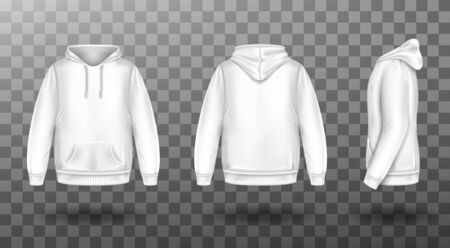 Hoody, white sweatshirt mock up front side back view set. Isolated hoodie with long sleeves, kangaroo muff pocket and drawstrings. Sport, casual or urban clothing fashion, Realistic 3d vector mockup