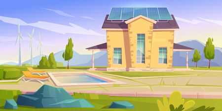 House with solar panels and wind mills. Eco friendly home, modern building on nature landscape with trees and swimming pool. Green renewable energy, organic architecture, Cartoon vector illustration
