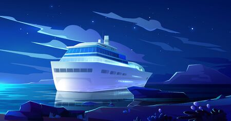 Cruise liner in ocean at night. Modern ship, luxury sailboat with glowing portholes moored in sea harbor at tropical land. Passenger vessel on dark water surface at summer, Cartoon vector illustration