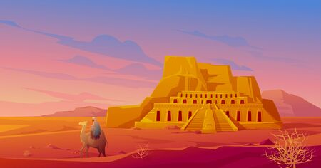 Egypt desert with Hatshepsut temple, camel with arab, mountain and tumbleweed. Vector cartoon landscape of egyptian ancient landmark. Pharaoh tomb in Sahara at sunset