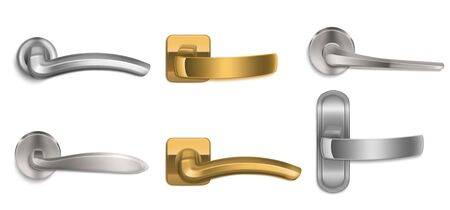 Realistic door handles set, golden and silver knobs of different shapes isolated on white background. Shiny gold and steel modern metal doorknobs, design element for interior, 3d vector icons, clipart