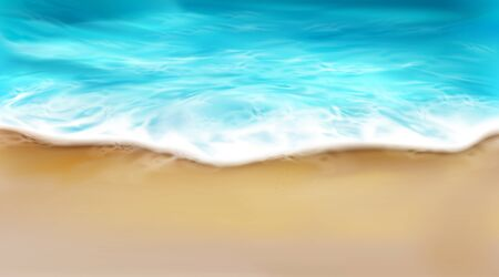 Top view of sea wave with foam splashing on beach with sand. Blue ocean foamy water splash on coastline background. Nature surface at summer day, nautical seascape, realistic 3d vector illustration Vettoriali