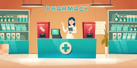 Pharmacy with pharmacist woman at counter desk, cartoon drugstore interior with cashier, medical products on shelves and vending machine for free female sanitary pads and tampons, vector illustration