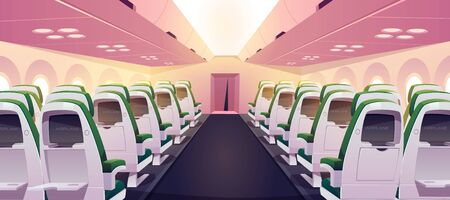 Empty airplane interior with chairs, digital screens and folding tables in seat back. Vector cartoon cabin of passenger aircraft, business class or economy salon in jet 向量圖像