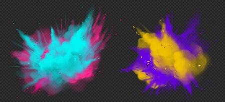 Holi paint powder color explosion realistic vector illustration. Blue pink, yellow purple dust splash, spring holiday paint burst isolated on dark transparent, decorative element for indian fest