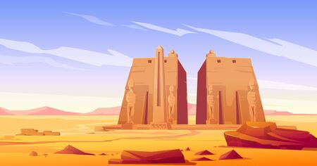 Ancient egyptian temple with pharaoh or god statue and obelisk. Vector cartoon landscape of desert in Egypt with famous landmarks, antique stone monuments