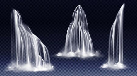 Waterfall cascade, realistic water fall streams of pure liquid jets with fog of different shapes isolated on transparent background. River, fountain design elements. Realistic 3d vector illustration Vektorgrafik