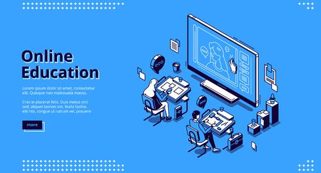 Online education isometric landing page. Students sitting at desks in classroom watching distant lesson at huge screen. Webinar in internet school, university or college, 3d vector line art web banner 矢量图像