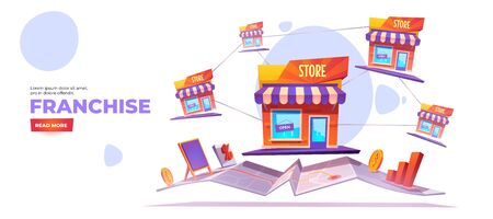Franchise banner. Expanding SME business model concept. Vector landing page of growth brand chain store, franchising system with cartoon illustration of shop buildings and map on white background