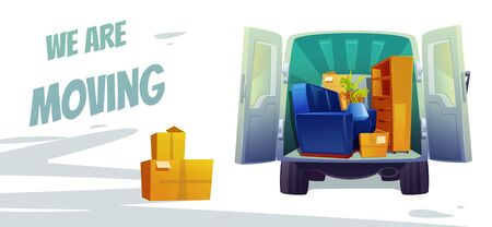 Furniture delivery, moving house service poster. Home stuff in car with open trunk and cardboard boxes inside. Small transport company or door-to-door removals business, Cartoon vector illustration