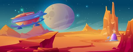 Landscape of planet Mars with colony base and flying rocket. Vector cartoon futuristic illustration of alien red planet surface, spaceship and dome building. Galaxy exploration and colonization