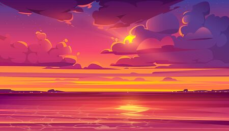 Sea sunset. Tropical landscape with ocean, sky and clouds in red light of evening sun. Vector cartoon summer seascape with orange reflection in water and coastline silhouette on horizon