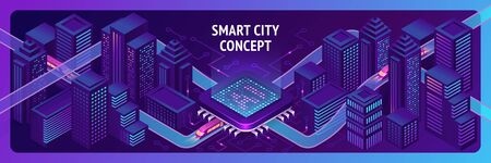 Smart city isometric banner, ai trains driving through hub with microcircuit elements, neon glowing buildings and modern urban architecture, artificial intelligence technology 3d vector illustration Иллюстрация