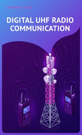 Digital UHF radio communication isometric banner, telecom tower and walkie talkie with antennas radiate waves. Transmitter equipment for wireless telephone connection, broadcast 3d vector illustration Vektorgrafik