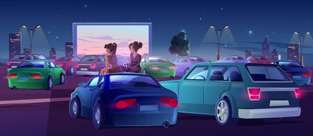 Girls at car cinema. Couple of friends in drive-in theater with automobiles stand in open air city parking at night. Women sit on auto roof watching movie, eating popcorn, Cartoon vector illustration