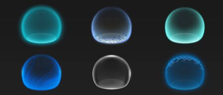 Force shield bubbles, various energy glowing spheres or defense dome fields. Science fiction deflector elements, firewall absolute protection isolated on black background, Realistic 3d vector set