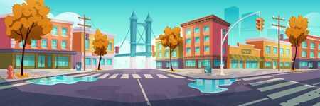 City street with crossroad in autumn, empty transport intersection with zebra crossing, puddles and fallen leaves. Urban architecture, infrastructure, megapolis with trees. Cartoon vector illustration