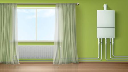 Boiler water heater on wall connected with radiator in room with plastic tubes and curtained window. Home appliance for comfort modern central heating system equipment Realistic 3d vector illustration Иллюстрация