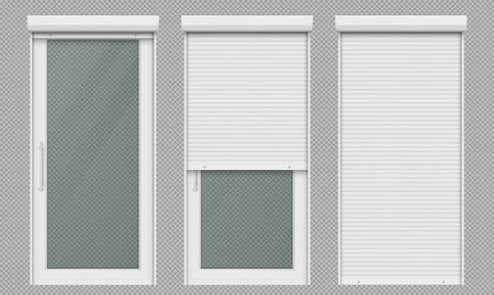 Glass door with rolling shutter isolated on transparent background. Vector realistic set of closed and open roller up for door or window, white metal blind for office or store entrance