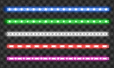 Led strips with neon glow effect isolated on transparent background. Vector realistic set of colored light stripes, glowing tape with red, green, blue and white lamp and diode bulbes