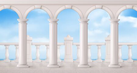 White marble balustrade, arches and columns on balcony or terrace with overlooking to sea. Vector realistic landscape with baroque railing, classic roman pillars, ocean and sky