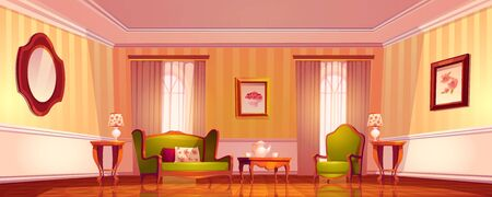 Victorian living room, old royal baroque empty interior in classical empire style, Comfortable luxury lounge apartments with retro furniture and floor-to-ceiling windows, Cartoon vector illustration