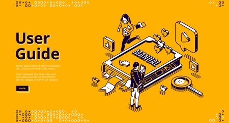 User guide isometric landing page, tiny people around of huge manual book, woman carry documents, man use gadget. Instruction booklet, tutorial help, guidance information 3d vector line art web banner