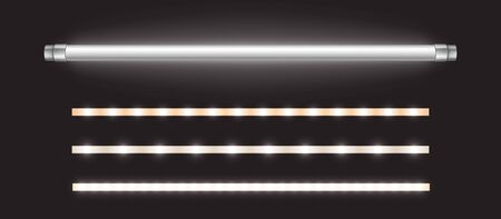 Tube lamp and led strips, long luminescence fluorescent energy saving bulb of daytime scattered light, artificial lighting for office. Halogen elements glowing lines, Realistic 3d vector illustration