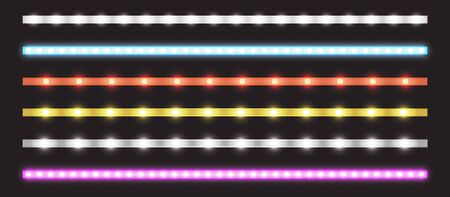 Led strips with neon glow effect isolated on transparent background. Vector realistic set of colored light stripes, glowing tape with pink, red, blue, yellow and white lamp and diode bulbes Ilustração
