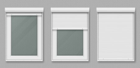 Plastic window with rolling shutter isolated on transparent background. Vector realistic set of closed and open roller up for glass window, white metal blind for office or shopfront