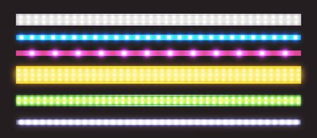 Led strips with neon glow effect isolated on transparent background. Vector realistic set of colored light stripes, glowing tape with pink, green, blue, yellow and white lamp and diode bulbes Ilustração