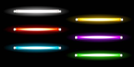 Neon tube lamps, long luminescence fluorescent multicolored bulbs, light for night club, advertising or signboards, artificial lighting. Halogen glowing elements, Realistic 3d vector illustration set